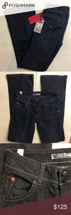 """HUDSON Bootcut Indigo Denim Jeans NWT.  Boot Cut Style  Low rise waist  Indigo dark wash  📌Measurements (approx and taken while item is layig flat):  Inseam 30""""  Rise 7""""   Materials: Cotton and Elastane   🚫No trades 📍We are a smoke and pet-free home. Hudson Jeans Jeans Boot Cut"""