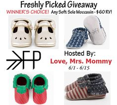 Enter to win a pair of Freshly Picked soft sole moccasins (Winner's choice) $60 RV! #FreshlyPicked #Giveaway Ends 6/15