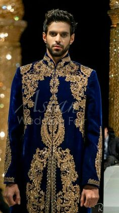 Royal blue sherwani  indian wedding Lakme Fashion Week, India Fashion, Mens Fashion, Wedding Men, Wedding Suits, Blue Sherwani, Mode Man, Wedding Sherwani, Indian Bridal Outfits