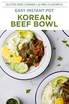 Instant Pot Korean Beef Bowls, a 30 minute meal with tender beef cooked in a sweet spicy korean sauce. This easy instant pot recipe is served on a bed of cauliflower rice with mango and avocado! Guaranteed to be a hit! #glutenfree #instantpot #beef #dinnerideas Gluten Free Recipes For Breakfast, Healthy Gluten Free Recipes, Healthy Eating Recipes, Healthy Eats, Korean Beef Bowl, Pot Recipe, Cauliflower Rice, Joyful, Glutenfree