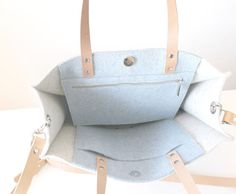 FREE SHIPPING Felt Tote Bag Leather handles tote Large