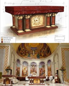 Before and After, conceptual art and completed custom altar, St. James Cathedral, Orlando, FL. Complete interior renovation program, furniture design and sacred art by Rohn & Associates Design.