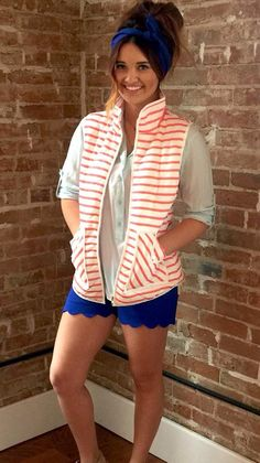 Find all these pieces at tooblueboutique.com! Coral striped vest/ blue flannel/ royal blue scalloped shorts / royal blue wire headband! Love it all!! #freeshipping #springvest #scallopedshorts #shoptooblue Royal Blue Shorts, Wire Headband, Get Dressed, Flannel, Coral, Jackets, Clothes, Dresses, Vestidos