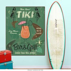 This tiki bar wall decal features vintage style artwork inspired by the Polynesian lounges of the Sixties. Removable wall sticker is made of textured polyester fabric with a glare-free matte finish. Sticks to most flat surfaces in your kitchen or dining room, and can be easily removed. Made in the USA with eco-friendly materials. Copyright Fiona Stokes-Gilbert/artlicensing.com. Available in 12