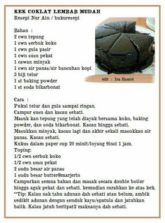 Kek Choklat lembap Tart Recipes, Brownie Recipes, Sweet Recipes, Baking Recipes, Cookie Recipes, Chocolate Tarts, Hot Chocolate Recipes, Malaysian Dessert, Cake Receipe