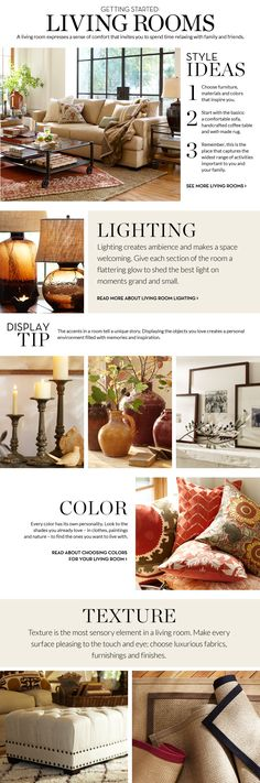 Living Room Inspiration & How to Decorate Living Room   Pottery Barn Red and brown and yellow colors