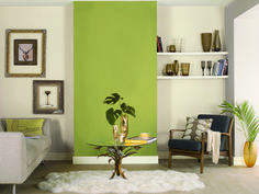 Transform bland neutral sitting rooms with grassy Agathia Green and greyed off Silverwood for timeless modernity, both from Dulux Easycare range. #colour #livingroom #inspiration