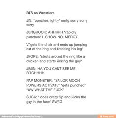 BTS as wresters. Oh Rap Monster! :3