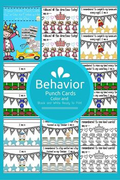 Behavior Punch Cards are cards to support positive Behavior.  So now that you have downloaded the freebie sonhere are the rest! There are also some blank cards to write on and individualize as well as 40 different cards to use for specific positive behaviors