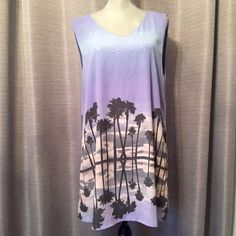 •HP• Palm tree shift dress Olivaceous for urban outfitters. Adorable palm tree sunset shift dress. Sadly Reposhing because it doesn't fit my DDD bust. Tag says medium/large. Will fit either. No stretch. Low back. Polyester. Urban Outfitters Dresses