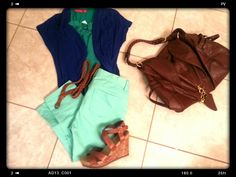 Spring 2014 outfits : mint jeans, emerald green top, sapphire blue cardigan, brown belt, brown wedges, brown purse