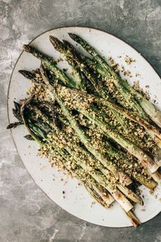 Roasted Asparagus with Lemony Walnut Crumble - Dishing Up the Dirt