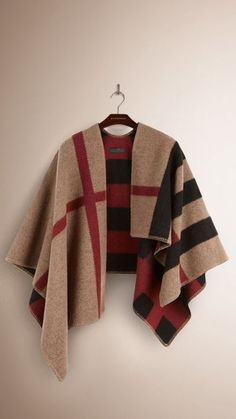 a8bf39362eb2d Check Wool and Cashmere Blanket Poncho optional monogram
