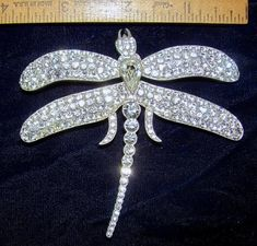 GORGEOUS! VINTAGE JAY STRONGWATER STUDIOS RHINESTONE ART NOUVEAU DRAGONFLY PIN #STRONGWATERSTUDIOS
