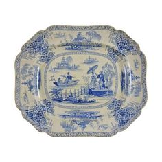 Image of Blue & White Chinoiserie Transferware Platter
