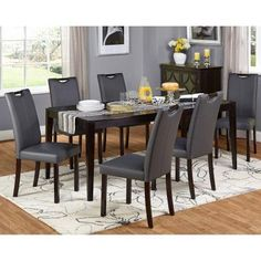Target Marketing Systems Tilo 7 Piece Dining Table Set - 18027GRY