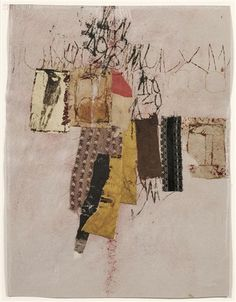 paper, fabric, ink and pastel on paper - Hannelore Baron - mixed media collage