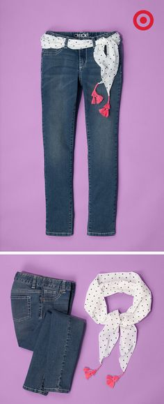Weave this polka dot scarf from Target through the belt loops of kids' jeans and let the tassels do the rest.