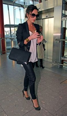 Victoria {3/4 blazer, silk top, tight pants -- these would look cute as cigarette/cropped pants with flats}