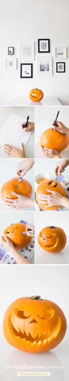 "DIY Halloween pumpkin _ tutorial with free template by ""I Fall in Chocolate"""