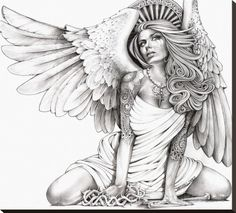 Kneeling woman with angel wings glances skyward with a tear in her eye. Her head is crowned by a crest of heaven. Title: Crying Angel Artist: Mouse Lopez Made-to-order giclee fine art reproductions on Tattoos Skull, Sexy Tattoos, Body Art Tattoos, Rose Tattoos, Sleeve Tattoos, Flower Tattoos, Wing Tattoos, Animal Tattoos, Stretched Canvas Prints