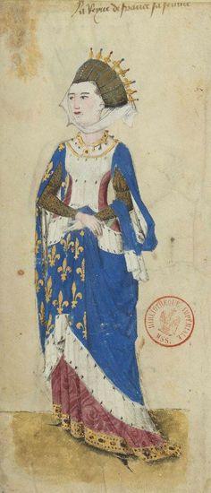 """«La Reyne de France sa femme», Marguerite de Provence, épouse de Louis IX (f°7) -- «Armorial de Guillaume de Revel dit """"Auvergne""""», 1456 [BNF Ms Fr 22297]"""