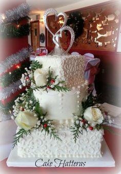 A Christmas Wedding Cake - by CakeHatteras @ CakesDecor.com - cake decorating website