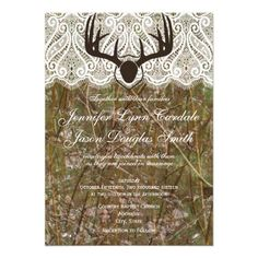 Rustic Country Camo Hunting Antlers Wedding Invitation http://www.zazzle.com/rustic_country_camo_hunting_antlers_wedding_invite-161289934877705726?rf=238133515809110851
