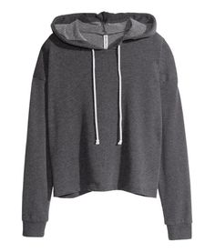 See this and similar H&M hoodies - Short, wide hooded top in soft marled sweatshirt fabric. Machine wash at Black Hooded Sweatshirt, Cropped Hoodie, Black Hoodie, Hooded Sweatshirts, H&m Shorts, Cool Hoodies, Short Tops, Sweater Jacket, Black Tops