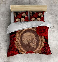 Cameo Rose Skull Bedding Vintage Skull Pattern with by InkandRags