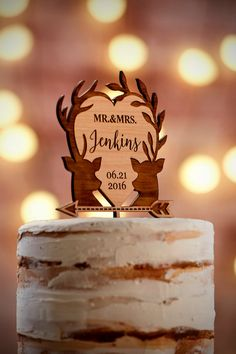 Personalized Wedding Cake Topper Custom Cake Topper Rustic