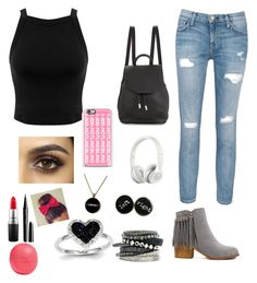 """Shopping Day look"" by aleena2400 ❤ liked on Polyvore featuring Miss Selfridge, Current/Elliott, rag & bone, Casetify, Beats by Dr. Dre, H&M, Kevin Jewelers, MAC Cosmetics, Marc Jacobs and Eos"