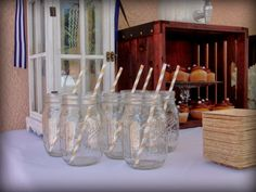 nautical birthday party mason jar drinks www.spaceshipsandlaserbeams.com