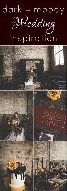 A dark and moody wedding styled shoot full of eclectic details and elegant drama. Deep shades of red, black and green mixed in with pops of yellow and lavender are combined with elements of wood, gold, and brick. Photos by Xandra Photography #darkwedding #deepred http://www.theweddingguru.ca/dark-moody-wedding-styled-shoot/
