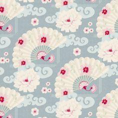 Tilda-fabric-Chinese-Fan-Cadet-Blue-4-50-1-2-meter-9-1-meter