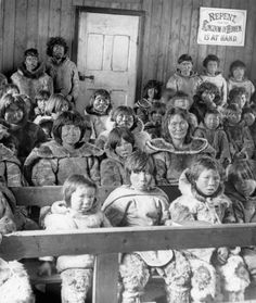 Inuit in church, Whale River, Quebec, [Kuujjuarapik, (formerly Whale River), Quebec], ca.1902-1904  Credit: A.A. Chesterfield/Library and Archives Canada/PA-114291 Restrictions on use: For reproductions and all further use, written permission must be obtained from: Jack Coogan, Robert & Frances Flaherty Study Centre, The School of Theology at Claremont, 1325 North College Ave., Clar