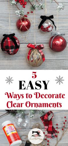 Decorating Clear Plastic Ornaments for Christmas | Sweet Red Poppy Primitive Christmas, Diy Christmas Ornaments, Christmas Balls, Homemade Christmas, Holiday Crafts, Christmas Holidays, Christmas Decorations, Easy Ornaments, Decorating Ornaments