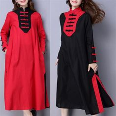 Vintage Women Long Sleeve Stand Collar Patchwork Dresses Shopping Online - NewChic