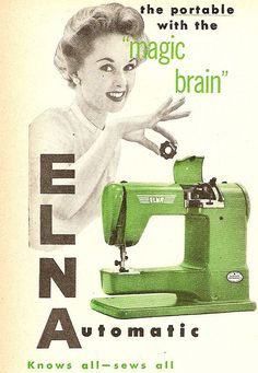 Funky Green Vintage Elna Ad... I wish I had my Mom's...