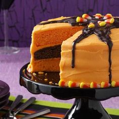 Halloween Orange Layer Cake Recipe with Cream Cheese Frosting !!! cake flavors, layered cakes, halloween parties, layer cakes, halloween layer, cake party, halloween cakes, cake recipes, cream cheese frosting