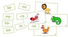 Träna fonologisk medvetenhet, avkodning och ordförråd genom att sätta ihop stavelser till ord med stöd och hjälp av bilder. Låt eleverna jobba på egen hand eller i par med detta ljudpussel. First Grade, Little Ones, Kindergarten, Preschool, Language, Alphabet, Teaching, Activities, Writing