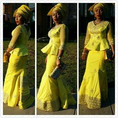 yellow george skirt and blouse, Nigerian fashion, African Style, gele, Igbo woman