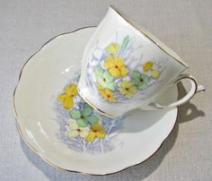 Bell China Wallflower bone china tea cup and by VolvoxVintageShop.