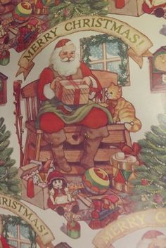 """Vintage Department Store Santa Wrapping Paper Christmas 24"""" Wide x 3 Yards 
