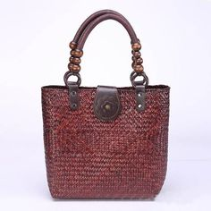 Summer Women Durable Weave Straw Beach Bag Feminine Linen Woven Bucket  f5d002479781