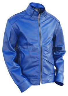 Blue Unisex Premium Genuine Pure Leather Jacket with Quilted Lining - Leather Skin Shop Leather Top Hat, Purple Leather Jacket, Long Leather Coat, Leather Jacket With Hood, Leather Skin, Quilted Leather, Real Leather, Best Leather Jackets, Mens Big And Tall