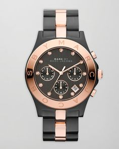 Blade Two-Tone Watch, Black/Rose Golden by MARC by Marc Jacobs at Neiman Marcus.