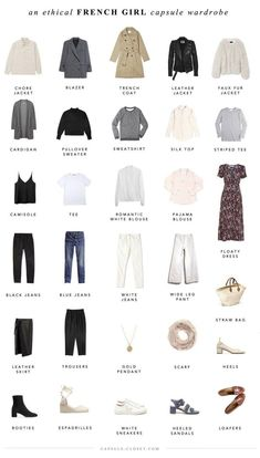 An ethical French style capsule wardrobe – Capsule Closet I've been more fascinated by French style than ever lately. It's inherently a thoughtful, sustainable approach to dressing, because it incorporates a lot of classic, neutral pieces tha… French Capsule Wardrobe, Work Wardrobe, French Wardrobe Basics, Capsule Wardrobe Casual, Wardrobe Ideas, Closet Basics, Wardrobe Staples, Capsule Wardrobe How To Build A, Parisian Wardrobe