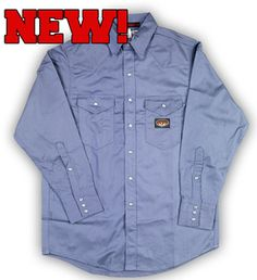 Rasco FR Work Blue Western Shirt with Snaps oz - Working Blue, Blue Flames, Work Shirts, Western Shirts, Work Wear, Raincoat, Man Shop, Shirt Dress, Long Sleeve