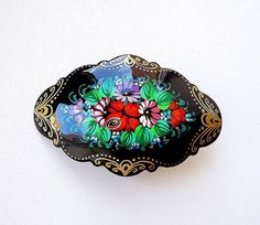 Russian floral hairpin wooden hand-painted by RusVernissage